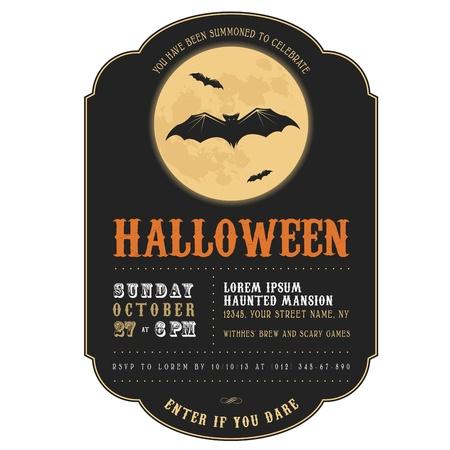 Vintage uitnodiging van Halloween met vliegende vleermuizen