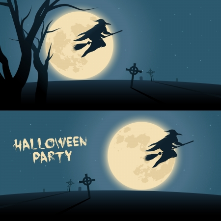 moonrise: Halloween background with witch flying on a broom in a moonshine