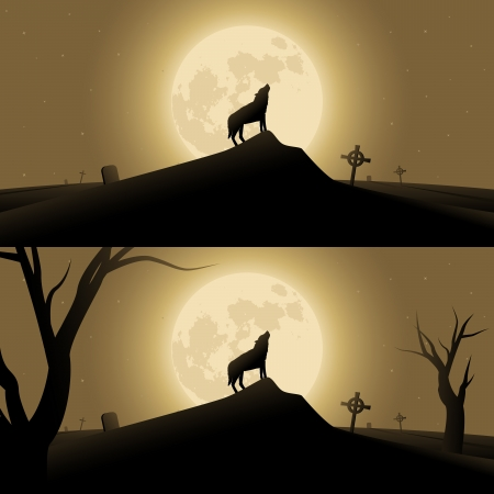moonrise: Halloween background with werewolf howling in moonlight