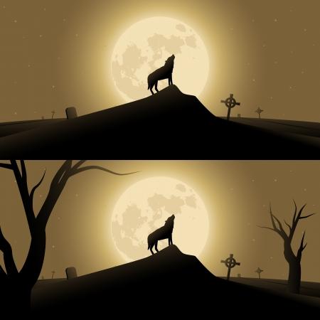 black wolf: Halloween background with werewolf howling in moonlight