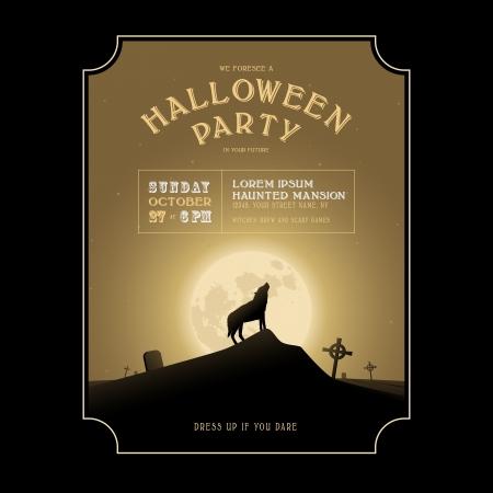moonshine: Vintage Halloween invitation with howling werewolf