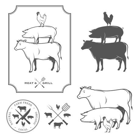 레스토랑 그릴 바비큐 메뉴 디자인 요소 일러스트