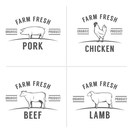 Conjunto de antiguos sellos carnicería carne y etiquetas Ilustración de vector