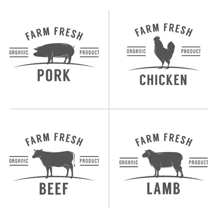cow: Set of vintage butchery meat stamps and labels