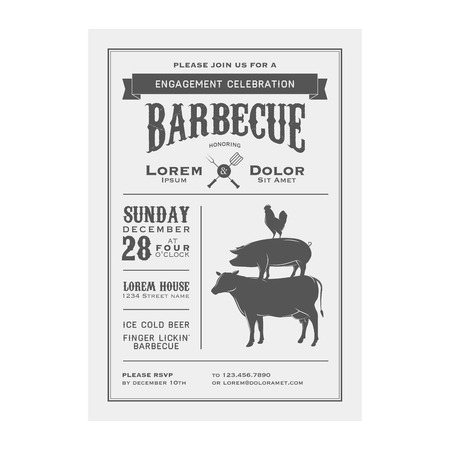engagement party: Vintage barbecue invitation card