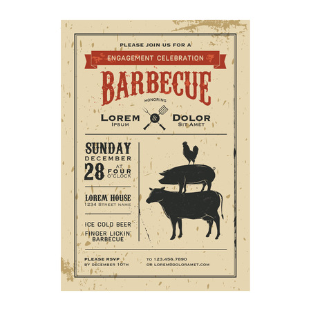 engagement party: Vintage barbecue invitation card on old grunge paper