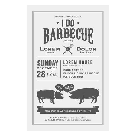 Vintage  I Do  Barbecue wedding invitation card