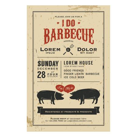 Vintage I Do Barbecue bruiloft uitnodiging kaart Stock Illustratie