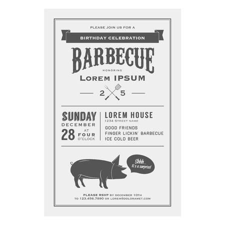 Vintage birthday celebration barbecue invitation Stock Vector - 22583185