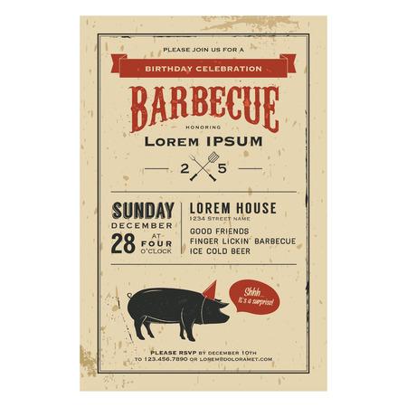 Vintage verjaardag uitnodiging viering barbecue Stock Illustratie