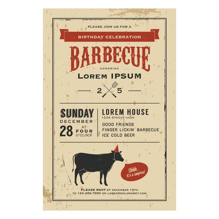Vintage birthday party barbecue invitation Stock Vector - 22583187