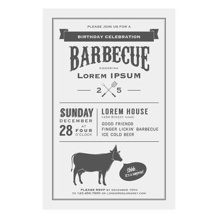 Vintage birthday party barbecue invitation Ilustracja