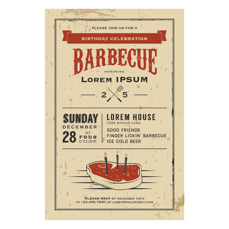 steak beef: Vintage birthday party barbecue invitation Illustration