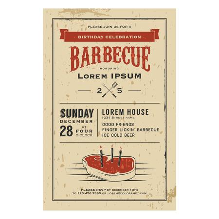Vintage verjaardag uitnodiging barbecue party Stock Illustratie