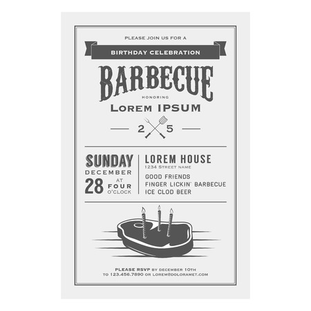 Vintage birthday party barbecue invitation Stock Vector - 22583194
