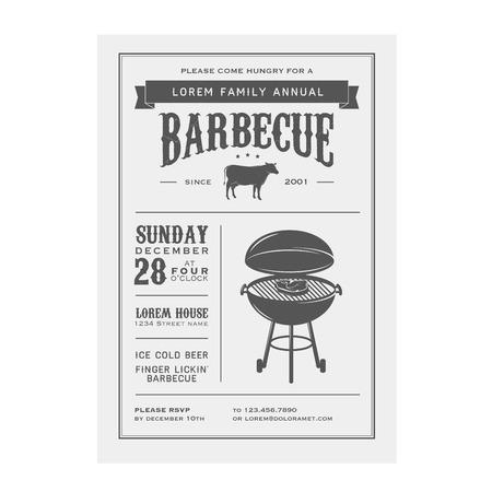 backyard: Vintage barbecue invitation Illustration