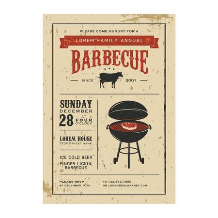 beef steak: Invitaci�n de la barbacoa del vintage