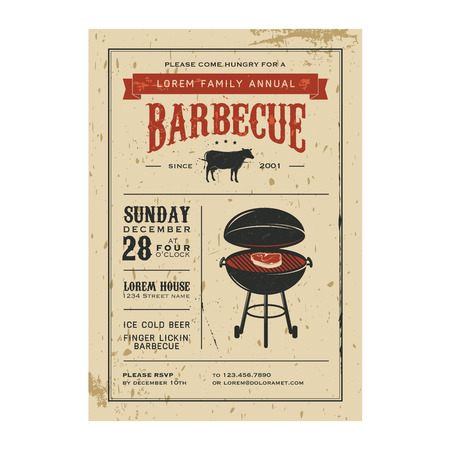 steak beef: Vintage barbecue invitation Illustration