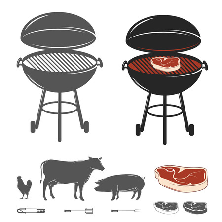 Barbecue elementen set Stock Illustratie