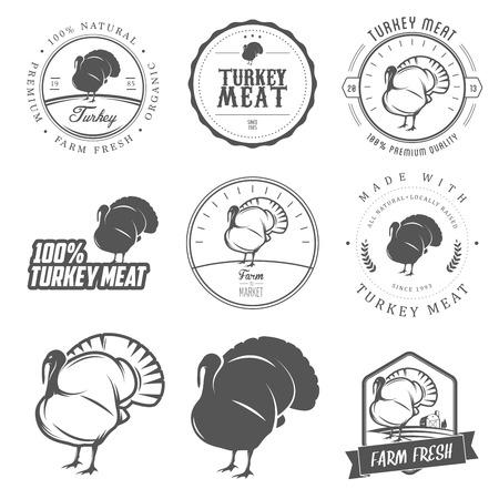 carniceria: Conjunto de pavo etiquetas y sellos de carne de primera calidad