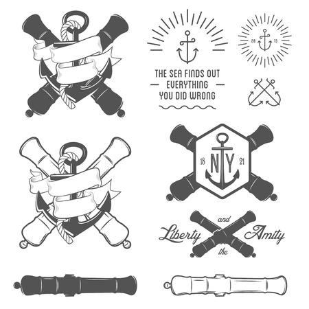 barco pirata: Conjunto de etiquetas de la vendimia n?uticas, iconos y elementos de dise?o