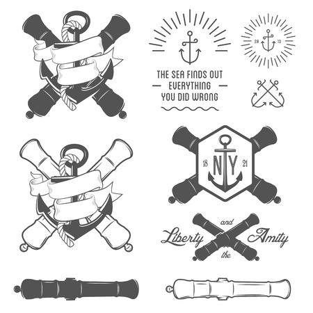 a cannon: Set of vintage nautical labels, icons and design elements