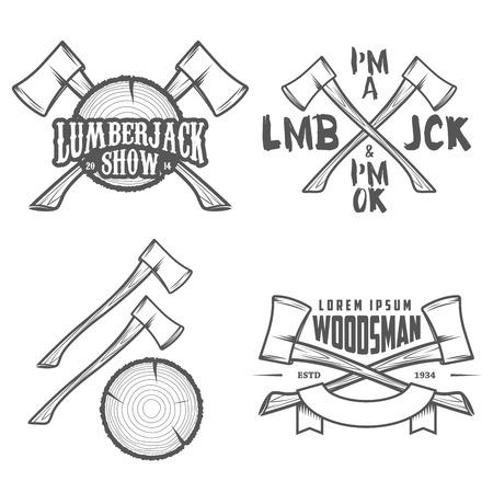 Reeks uitstekende houthakker etiketten, emblemen en ontwerp elementen