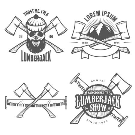 woodcutter: Set of vintage lumberjack labels, emblems and design elements Illustration