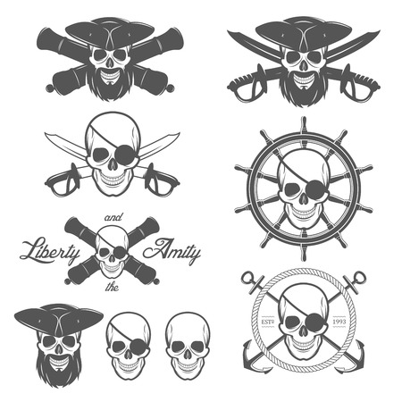 eyepatch: Set of pirate themed design elements