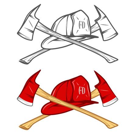 roer: Vintage brandweerman helm met gekruiste assen