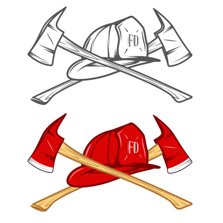fireman helmet: Vintage firefighter helm with crossed axes Illustration