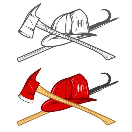 roer: Vintage brandweerman helm met gekruiste bijl en snoek pole Stock Illustratie