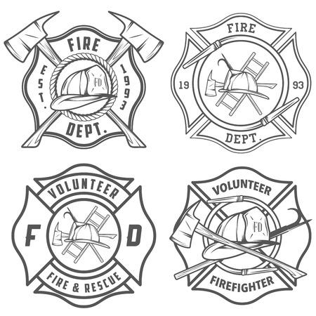 departamentos: Conjunto de emblemas e insignias del cuerpo de bomberos Vectores