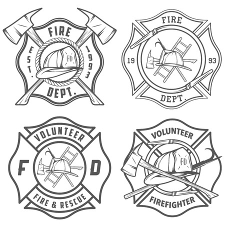 fireman: Set of fire department emblems and badges