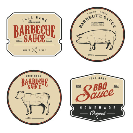 pig roast: Set of vintage homemade barbecue sauce labels