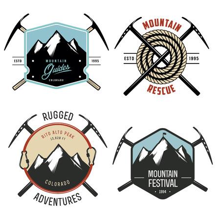 ビンテージ山エクスプ ローラー ラベルおよびバッジのセット  イラスト・ベクター素材