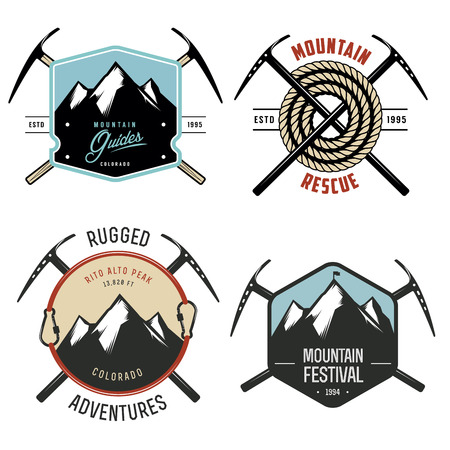 ice axe: Set of vintage mountain explorer labels and badges