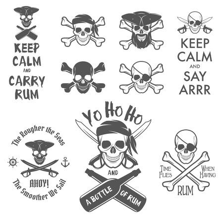 Set van piraat thema design elementen Stock Illustratie