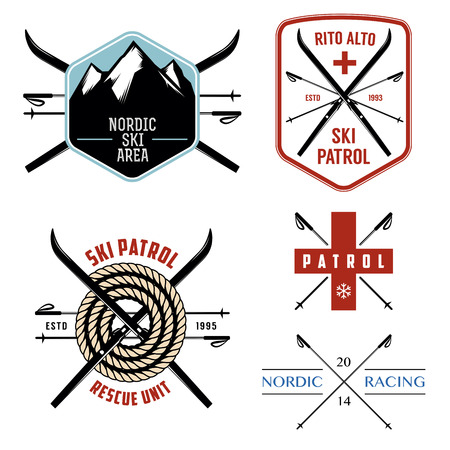 cross country skiing: Set of nordic skiing and cross country labels and emblems