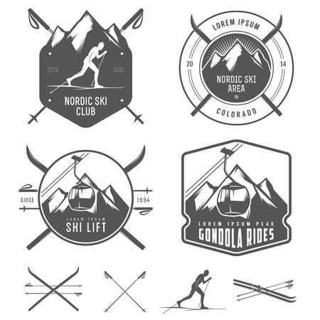 Conjunto de elementos de diseño de esquí nórdico
