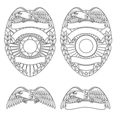Police department badges and design elements Ilustração