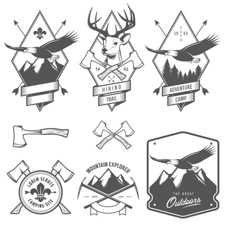 Vintage hiking and camping labels, badges and design elements Vector