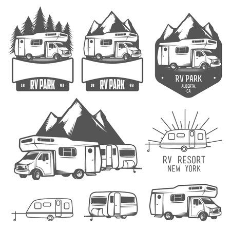 motorhome: Camper e caravan park distintivi ed elementi di design Vettoriali