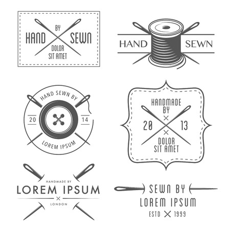 sewing: Set of vintage tailor labels and emblems