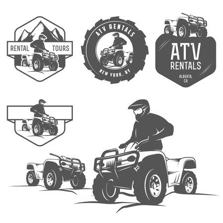 Conjunto de etiquetas de ATV, escudos y elementos de diseño Ilustración de vector