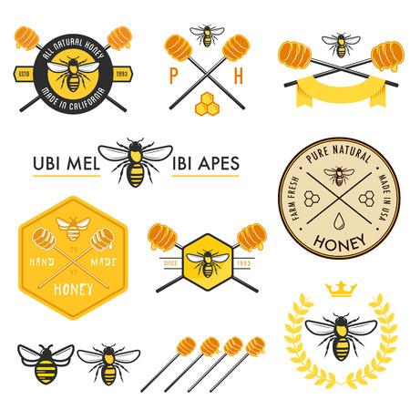 miel de abeja: Conjunto de etiquetas de la miel, insignias y elementos de diseño