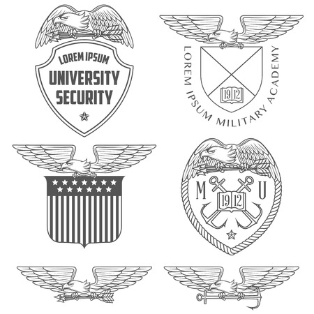 eagle badge: Military labels, badges and design elements Illustration