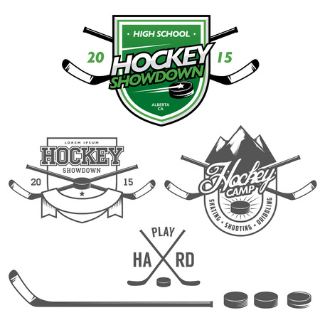 Ice hockey labels, badges and design elements Vector