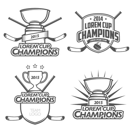 hockey goal: Ice hockey cup champions labels, badges and design elements Illustration