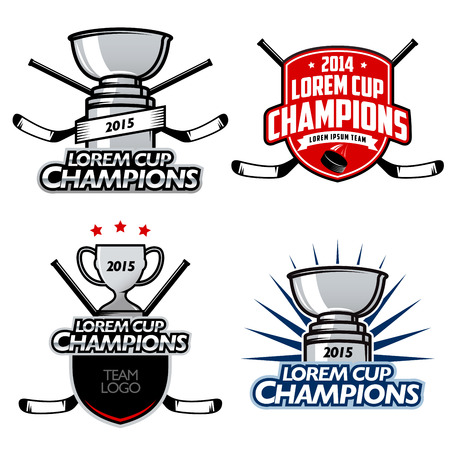 hockey puck: Ice hockey cup champions labels, badges and design elements Illustration
